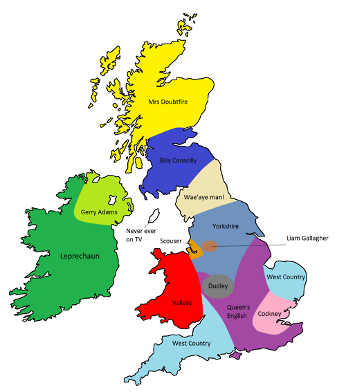 Map of UK accents