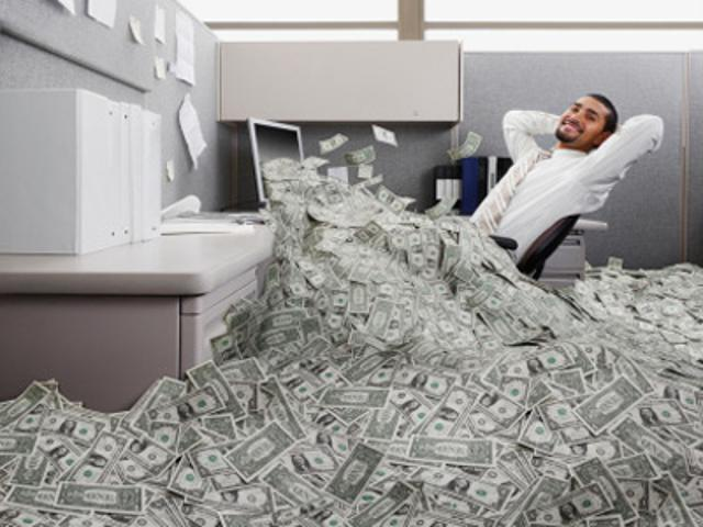 an image of an office filled with money