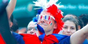 Image of French sports supporter wearing French flag